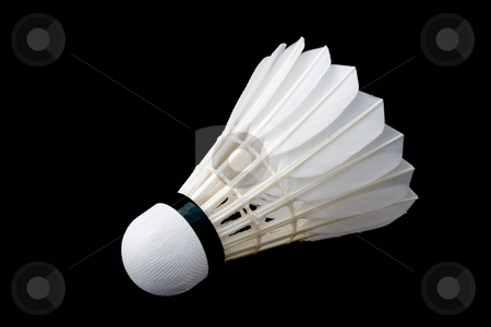 Badminton Shuttlecock stock photo, Badminton shuttlecock against a black background by Inge Schepers
