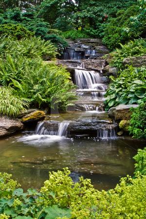 Beautiful waterfall stock photo, Beautiful multi-layered waterfall between vegetation. by Paul Hakimata