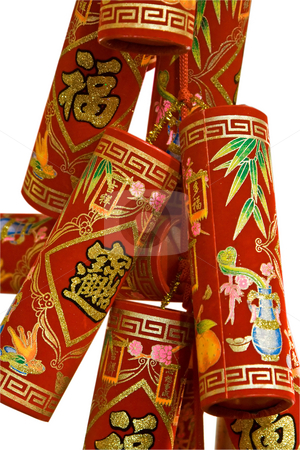 Chinese fire crackers stock photo, Red Chinese fire crackers that are used for celebration of the Lunar New Year, isolated on white by Paul Hakimata