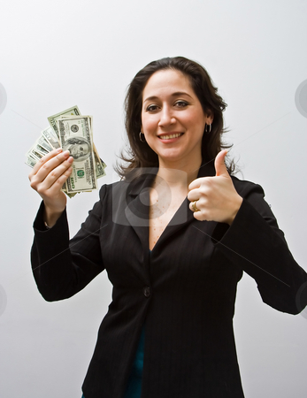 Good money stock photo, Business women thumbs up and holding money isolated on a white background by Paul Hakimata