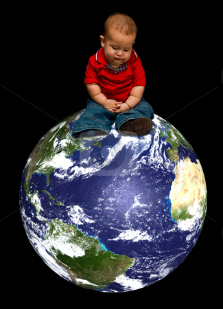 Future of Earth stock photo, A young baby boy worried about our blue planet called Earth and it's future, sitting on our globe, isolated on a black background by Paul Hakimata