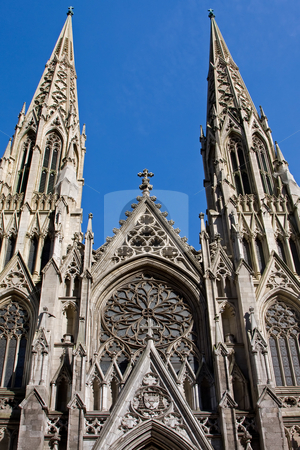 St. Patrick Cathedral stock photo, The facade of the Saint Patrick Cathedral in New York City on a deep blue sky by Paul Hakimata