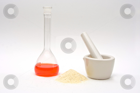 Pure chemistry stock photo, A red liquid in a flask with a powder in front and a white mortar on a white background by Paul Hakimata