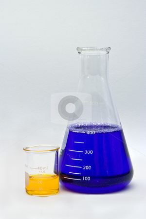 Colorful Chemistry stock photo, Flask and beaker with colorful liquids as pH indicators on a white background by Paul Hakimata