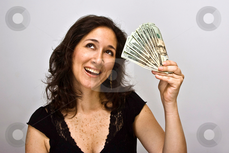 Money saver stock photo, Woman with a money saving idea by Paul Hakimata