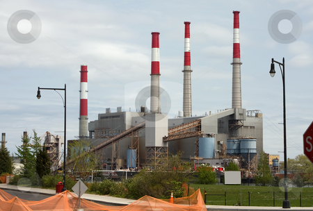 Power plant stock photo, Power plant with 4 smoke stacks by Paul Hakimata