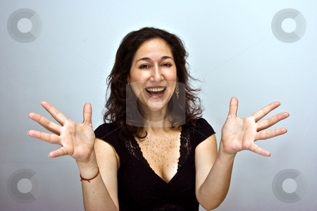 Excitement stock photo, Smiling woman being eccentric, happy and amazed by Paul Hakimata