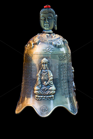 Buddha bell stock photo, A bronze bell with Chinese characters and an image of Buddha sitting in the lotus position and the face of Buddha as handle, isolated on black by Paul Hakimata