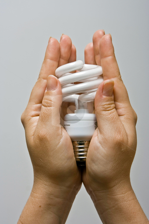 Presenting Power-saver stock photo, Two female hands presenting an environmental friendly and power saving fluorescent light bulb. by Paul Hakimata