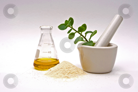 Natural chemistry stock photo, A yellow liquid in a flask with a powder in front and a white mortar with asome leaves in it on a white background by Paul Hakimata