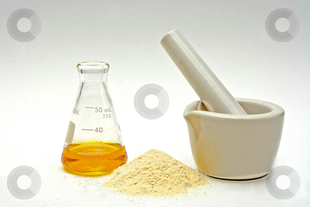 Pure chemistry stock photo, A yellow liquid in a flask with a powder in front and a white mortar on a white background by Paul Hakimata