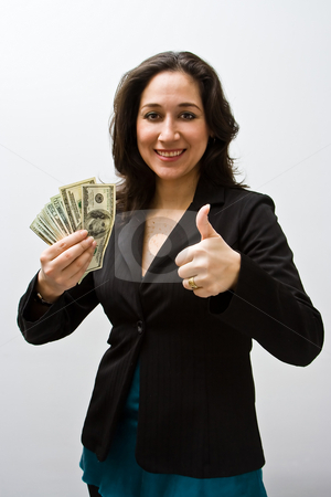 Great finances stock photo, Smiling business woman holding up fanned money and a thumb up, isolated on white by Paul Hakimata