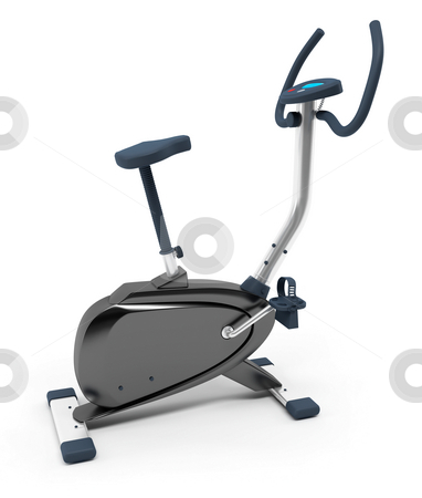 Stationary bicycle stock photo, Stationary bicycle over white background. Isolated, high resolution 3D Render. by Ali Ender Birer