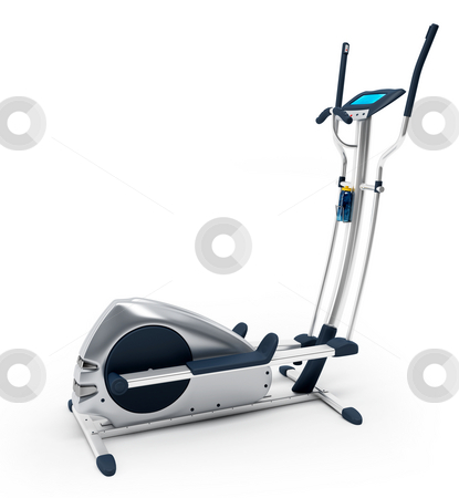 Elliptical stationary bicycle stock photo, Elliptical stationary bicycle over white background. Isolated, high resolution 3D Render. by Ali Ender Birer