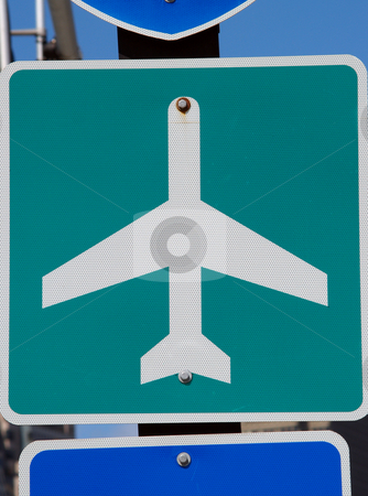 Green and white airport road sign on pole stock photo, Airport road sign on pole with blue sky green and white by Jeff Cleveland