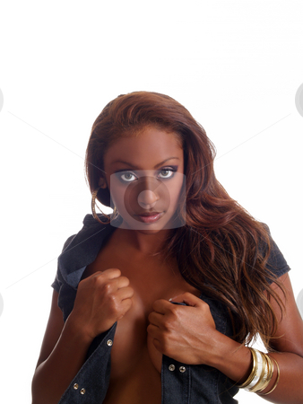 Woman with open shirt stock photo, Young black woman with shirt open portrait by Jeff Cleveland
