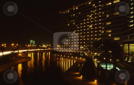 City night lights stock photo, City night lights over lake by Joseph Ligori