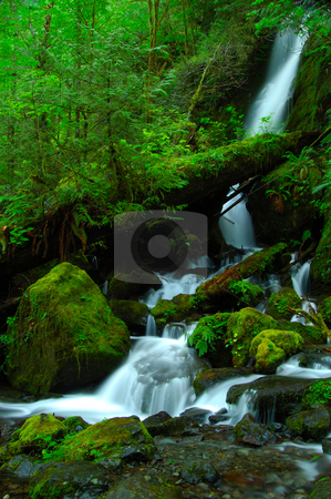 A silky waterfall stock photo, Merrymere falls in Olympic National Park by Nilanjan Bhattacharya