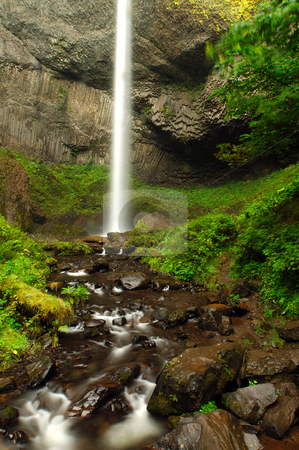 Falls of gold stock photo, Latourel falls with the adjoining stream by Nilanjan Bhattacharya