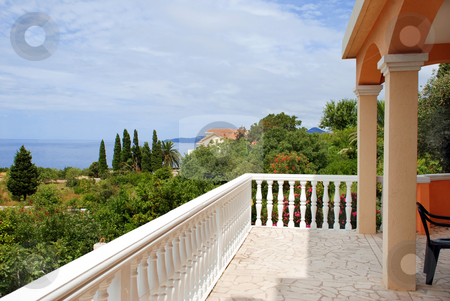 House on seaside stock photo, Terrace of house in montenegro at adriatic sea by Julija Sapic