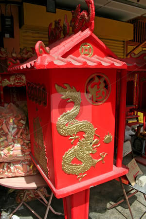 Chinese shrine stock photo, Small red traditional chinese family shrine with dragon motif by Kheng Guan Toh