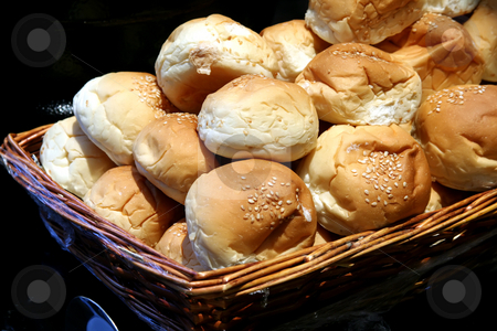 Dinner rolls stock photo, Dinner rolls in a basket in restaurant buffet by Kheng Guan Toh