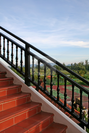 Outdoor stairs stock photo, Outdoor stairs with scenic panoramic view tiles and banister by Kheng Guan Toh