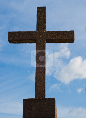 Religious Cross stock photo, A religious cross shot against blue sky by Richard Nelson