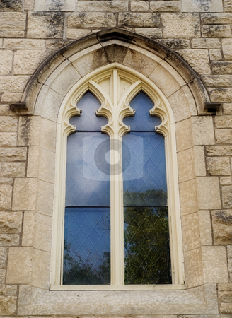 Church Window stock photo, An exterior view of a window outside a church by Richard Nelson