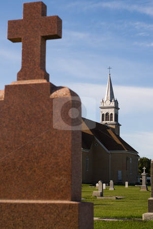 Cemetery stock photo, View of an old church and cemetery by Richard Nelson