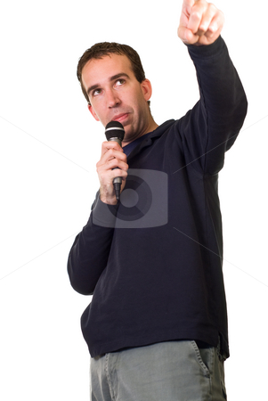 Karaoke Singer stock photo, A karaoke singer isolated on a white background by Richard Nelson