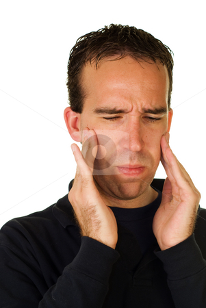 Facial Pain stock photo, A man experiencing some facial pain, isolated on a white background by Richard Nelson
