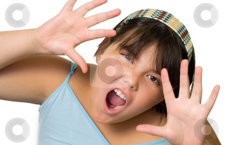 Funny Face Child stock photo, A young girl making a funny face, isolated on a white background by Richard Nelson