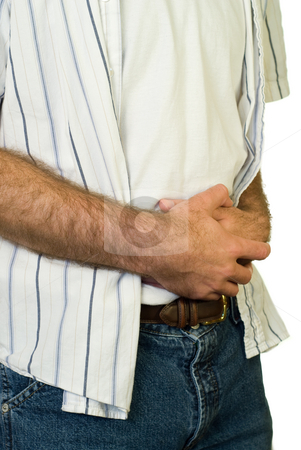 Stomach Cramps stock photo, Someone holding their stomach in pain, shot on white by Richard Nelson