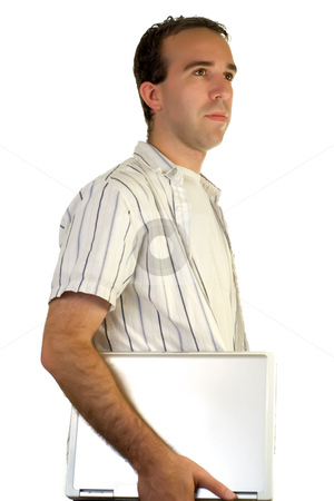 University Student stock photo, A young man isolated against a white background, carrying a laptop computer by Richard Nelson