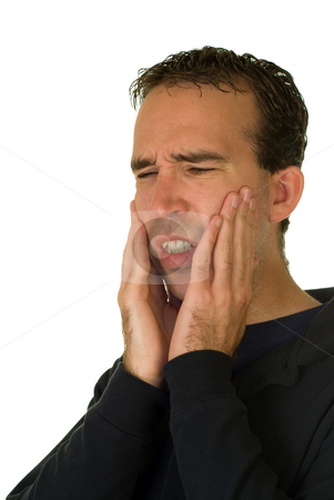 Tooth Ache stock photo, A man in pain because he just got his wisdom teeth pulled by Richard Nelson