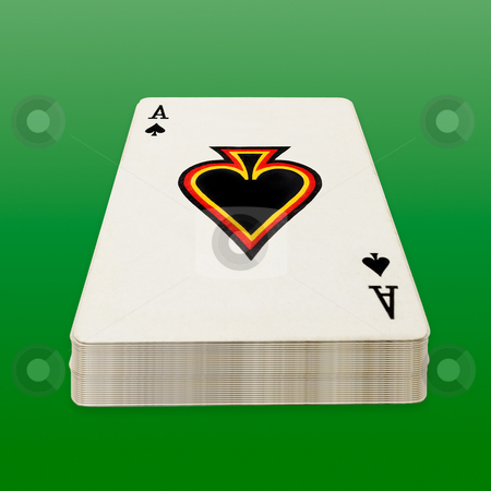 Deck of poker cards. stock photo, Deck of poker cards on green background, clipping path. by Pablo Caridad