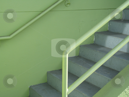 Green staircase stock photo,  by Mbudley Mbudley