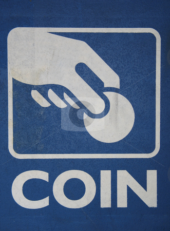 Blue coin sign stock photo,  by Mbudley Mbudley