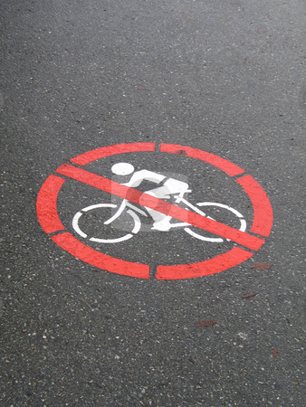 No cycling sign stock photo,  by Mbudley Mbudley