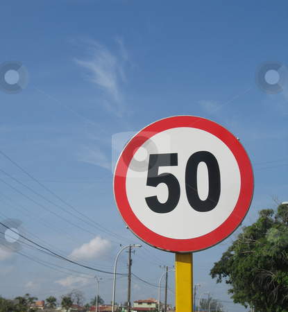 50 speed limit sign stock photo,  by Mbudley Mbudley