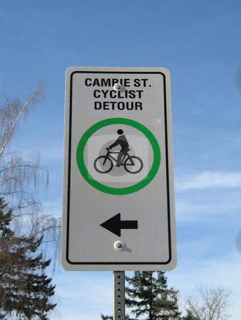 Cyclist detour sign stock photo,  by Mbudley Mbudley