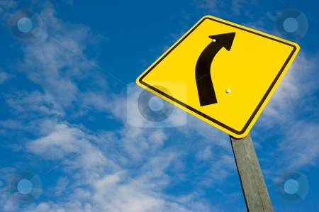 Road sign against a blue sky stock photo, Road sign against a blue sky with clipping path. by Pablo Caridad