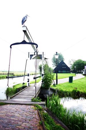 Heron on a Bridge stock photo, A grey heron on a little rural bridge in Zaans Schaans, the Netherlands by Vivek Chandrashekaran