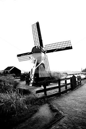 How green was my valley  stock photo, Zaans Schaans, among the oldest surviving windmills in Holland. by Vivek Chandrashekaran