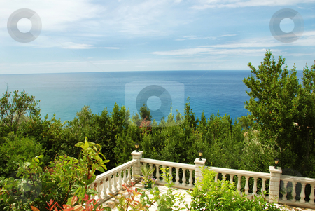 Terrace with sea view stock photo, Adriatic sea landscape, view from stone terrace by Julija Sapic