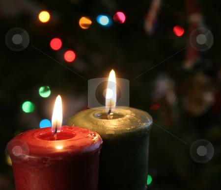 Christmas Candles stock photo, Christmas candles set against a tree. by Chris Hill