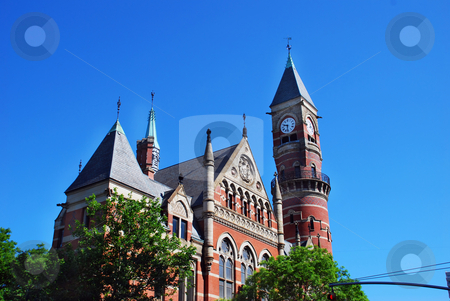 Church in New York City stock photo, Brick church and clock tower in NY over blue sky by Julija Sapic