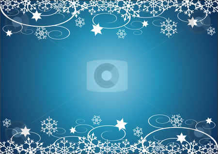 Christmas / New Year's Background stock vector clipart, Christmas / New Year's illustration that can be used as a background.  It has snow flakes, stars and swirls that make up a border at the top and bottom. by Inge Schepers