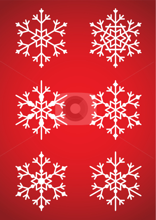 Snowflakes stock vector clipart, Vector illustration of a set of six different snowflakes that can be used in illustrations, on a red background by Inge Schepers